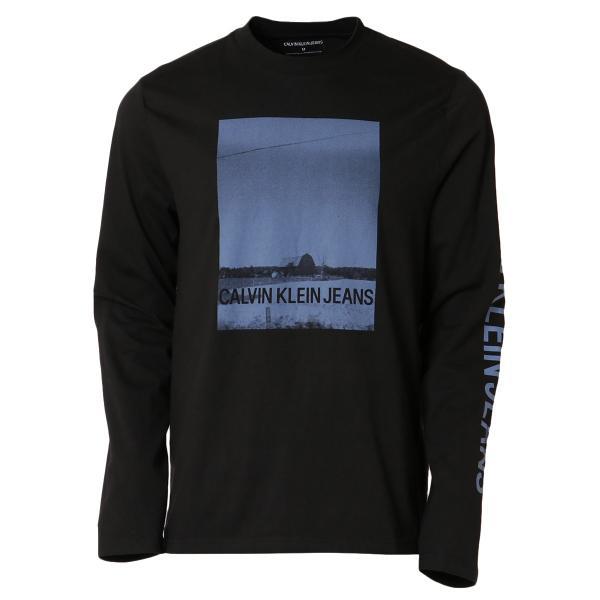 【即納】カルバンクライン Calvin Klein メンズ 長袖Tシャツ トップス BARN PRINT LS TEE BLACK ロンT ロングT ロングスリーブ fermart