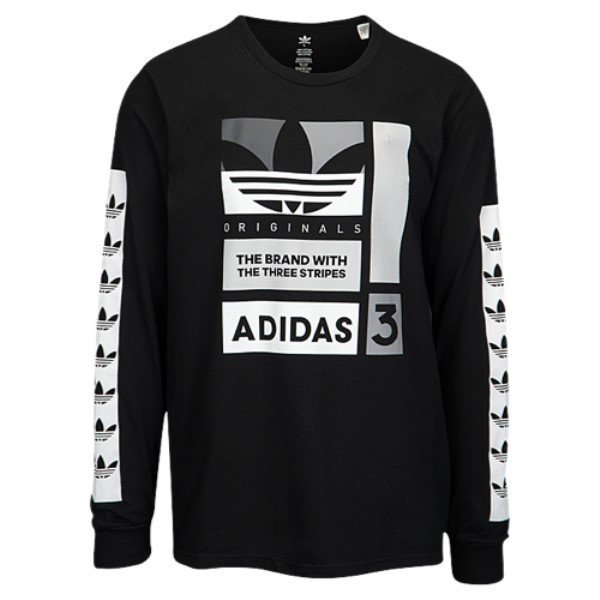 【即納】アディダス adidas Originals メンズ 長袖Tシャツ トップス Graphic Long Sleeve T-Shirt Black/White/Grey|fermart|01