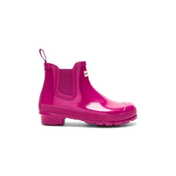 【即納】ハンター Hunter レディース レインシューズ・長靴 シューズ・靴 Original Chelsea Gloss One Tab Boot Hunter Dark Ion Pink|fermart