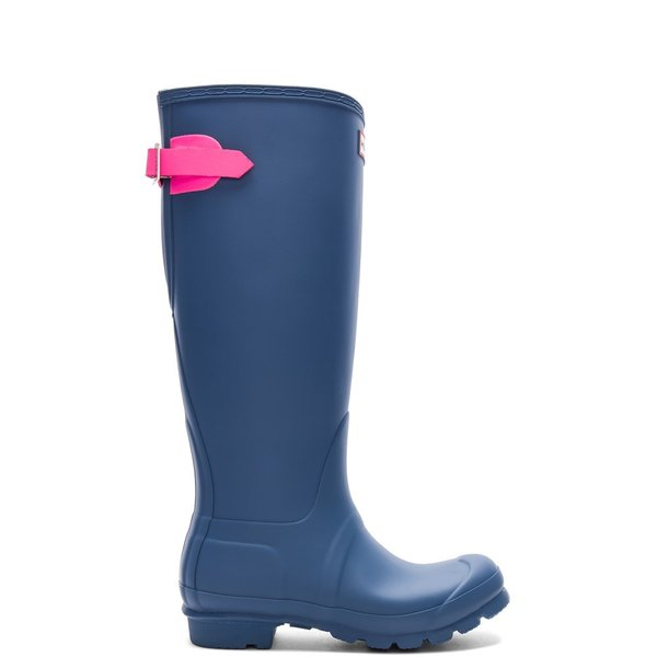 【即納】ハンター Hunter レディース レインシューズ・長靴 シューズ・靴 Original Back Adjustable Boot Hunter Dark Earth Blue & Ion Pink|fermart