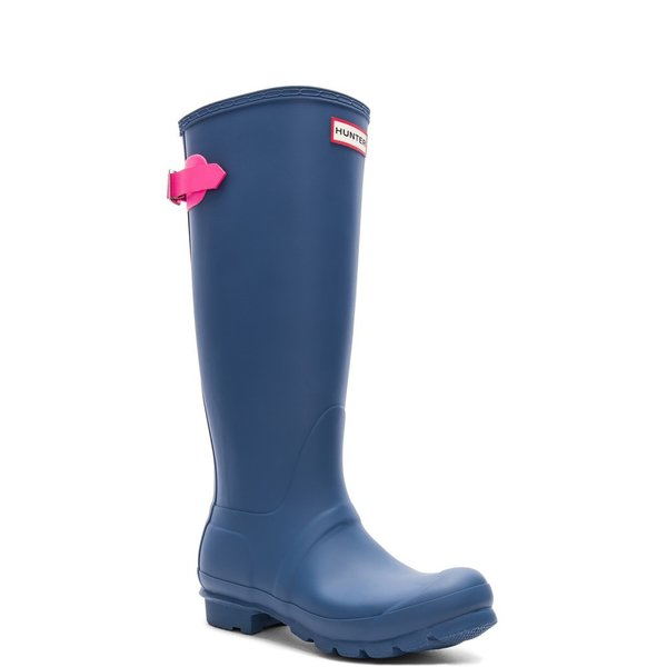 【即納】ハンター Hunter レディース レインシューズ・長靴 シューズ・靴 Original Back Adjustable Boot Hunter Dark Earth Blue & Ion Pink|fermart|02