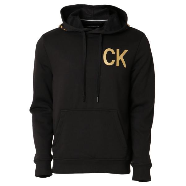 【即納】カルバンクライン Calvin Klein メンズ パーカー トップス NEW ICONIC GRAPHIC HOODIE BLACK フーディー フード|fermart