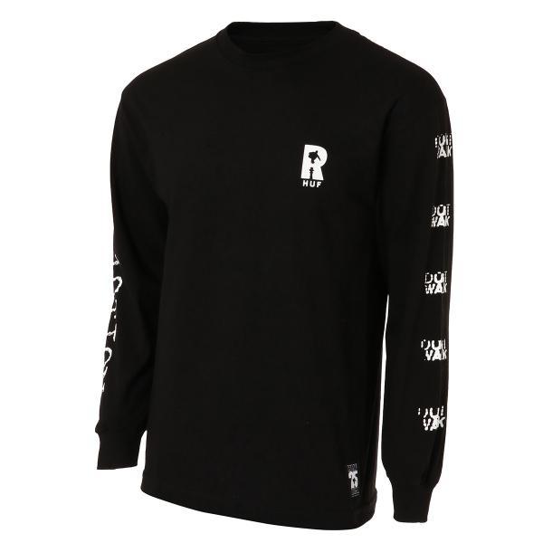 【即納】ハフ HUF メンズ 長袖Tシャツ トップス ロンT ロングT ロングスリーブ REAL NON-FICTION L/S TEE BLACK fermart