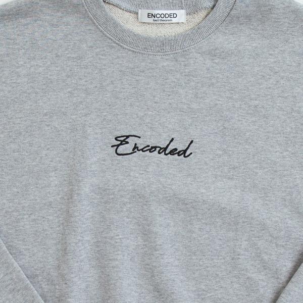 【即納】エンコーデッド ENCODED メンズ スウェット・トレーナー トップス ENBROIDERY LOGO SWEAT PO gray fermart 03