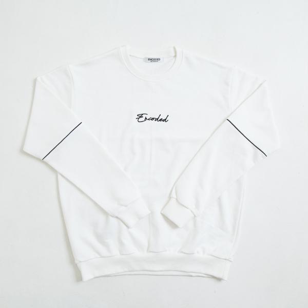 【即納】エンコーデッド ENCODED メンズ スウェット・トレーナー トップス ENBROIDERY LOGO SWEAT PO white|fermart