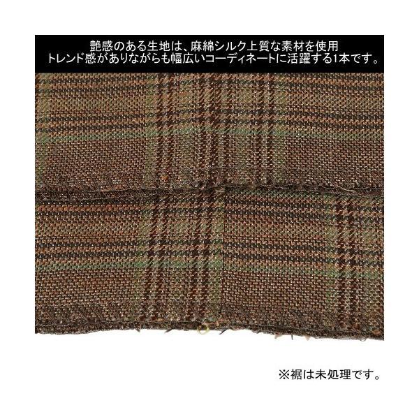 ●SALE 80%OFF●【ARTISAN】アルチザン チェック リネンシルク混 スラックスパンツ(ツータック) 茶『15/10/1』011015(送料無料)|fflower11|05