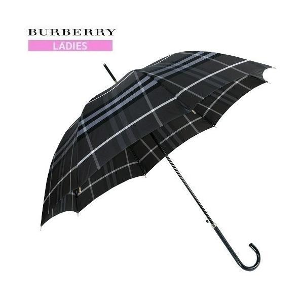 ★当店オススメ★【BURBERRY】バーバリー 日本製 カバー付きノバチェック 婦人長傘(雨傘) 暗グレー『16/7/2』070716(送料無料)|fflower11