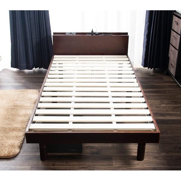 ベッド すのこベッド シングルベッド 2口コンセント付き 高さ3段階 天然木パイン無垢 安い(A)|fi-mint|02