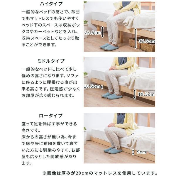 ベッド すのこベッド シングルベッド 2口コンセント付き 高さ3段階 天然木パイン無垢 安い(A)|fi-mint|08