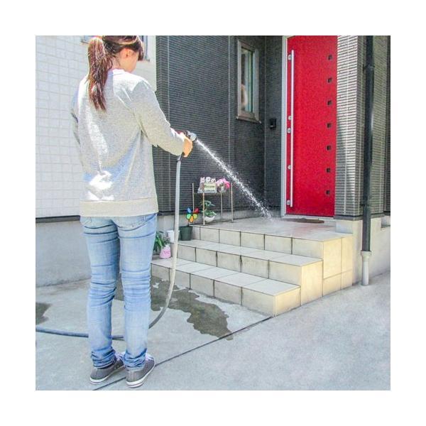 のびかるホース NH-15GY 7mから15mまで伸びます 8種類の水流切替[伸縮ホース ガーデニング 水道 園芸 清掃 散水 コンパクト 軽量]|ficst|07