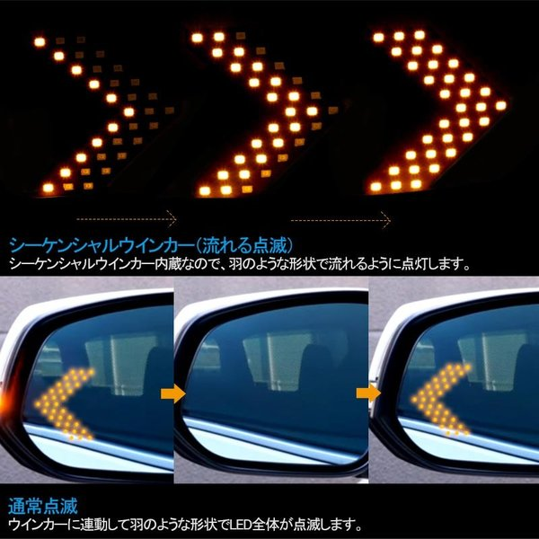 汎用 ドアミラー用 矢印型 ウインカーランプ 片側33連SMD アンバー ウインカー シーケンシャルウインカー|field-ag|06