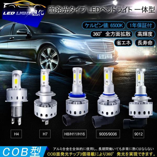 純白6500K 高品質LEDヘッドライト COB面発光タイプ 選択 H4 Hi/Lo切替 H7 H8 H11 HB3 HB4 9012 HIR2 12V対応 一体型 ワンタッチ取付|field-ag