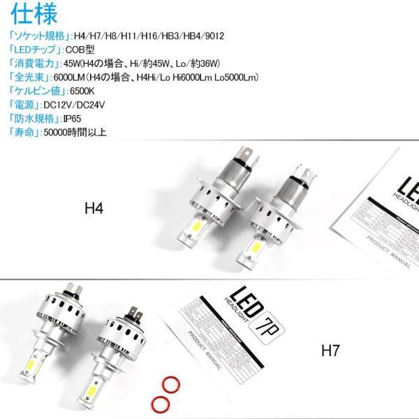 純白6500K 高品質LEDヘッドライト COB面発光タイプ 選択 H4 Hi/Lo切替 H7 H8 H11 HB3 HB4 9012 HIR2 12V対応 一体型 ワンタッチ取付|field-ag|02