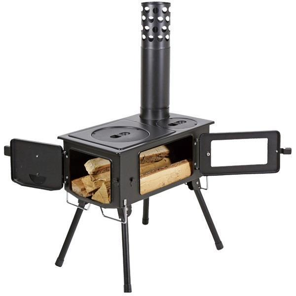 薪ストーブ ダッチオーブン バーベキュー UG-0075 KAMADO(かまど)煙突 ガラス窓付 角型ストーブ  (CAG)(CQB27)