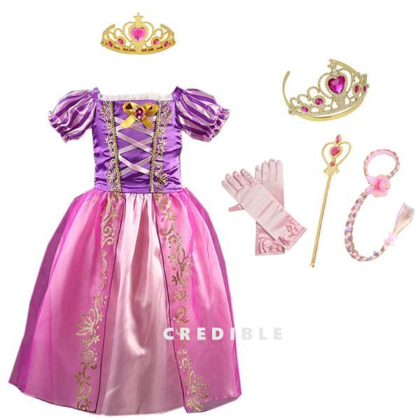 00268037b06b2 塔の上の ラプンツェル 風 子供用 プリンセスドレス 可愛いハートのティアラ セット 100 ...