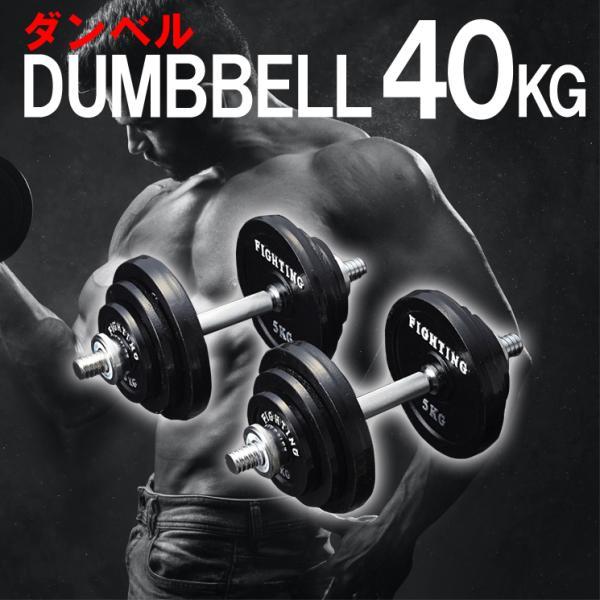 【倍倍ストアP5倍】ダンベル セット ブラックタイプ 40kgセット 片手20kg 2個 セット 筋トレ トレーニング器具 可変式 ファイティングロード