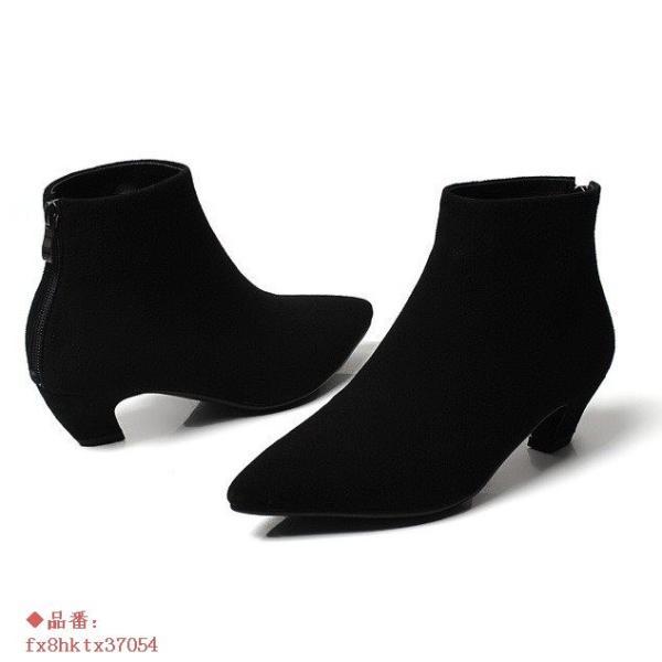 ショートブーツ レディース ブーティー 無地 ブーツ チャンキーヒール 冬ポインテッドトゥ 歩きやすい フェイクレザー 秋 3cm 婦人靴 痛くない