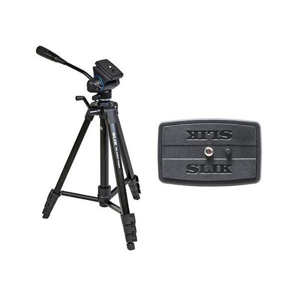 SLIK 三脚 GX 6400 VIDEO 4段 レバーロック式 ビデオ雲台+スペアクイックシューセット