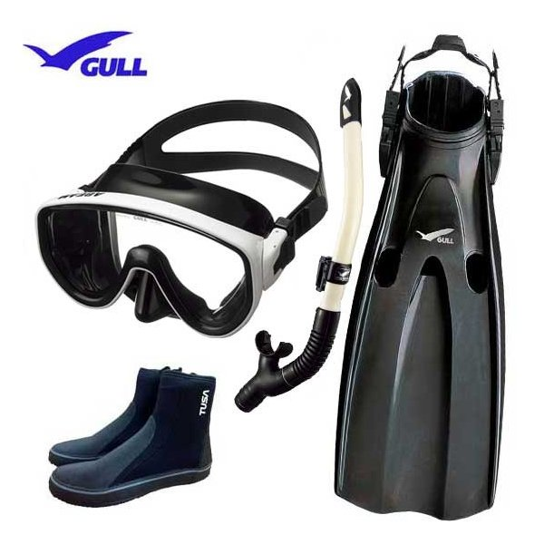 GULL ガル ダイビング 軽器材4点セット アビーム マスク カナール/レイラドライSP スノーケル マンティスフィン  ブーツ 男性 女性