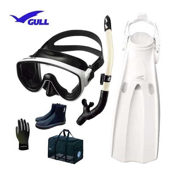 GULL ガル ダイビング 軽器材6点セット アビーム マスク カナール/レイラドライSP スノーケル マンティスフィン  ブーツ グローブ メッシュ