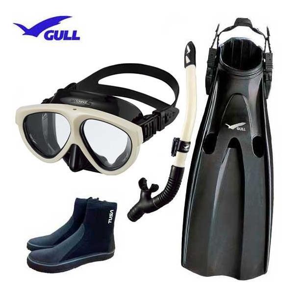 GULL ガル ダイビング 軽器材4点セット マンティスフィン マンティス5 カナール/レイラドライ スノーケル TUSAブーツ