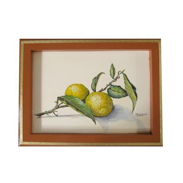 トールペイント ご自分で描く 図案付白木素材 cwk-200 柚子を描いたフレーム