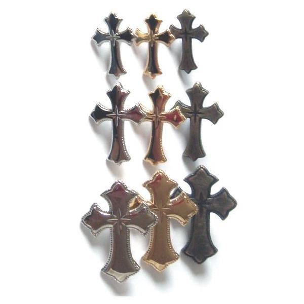 飾りカシメ クロス(十字架キラリ柄) Lサイズ シルバー
