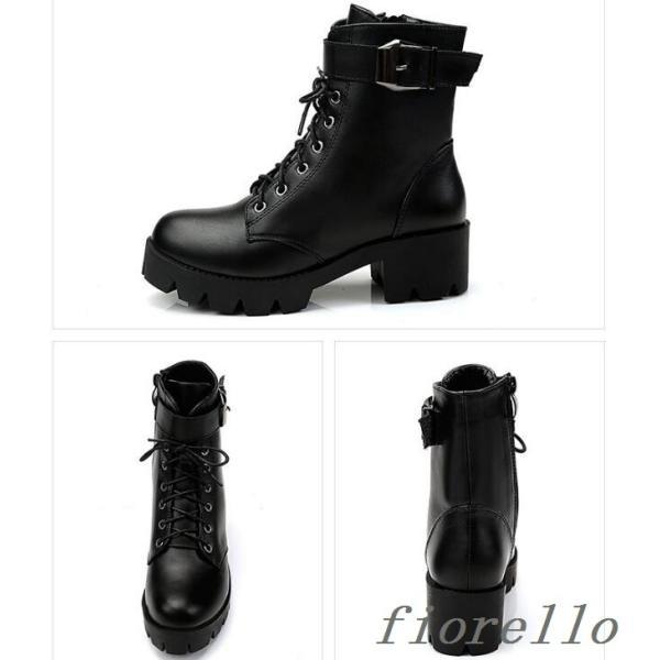 ブーツ ショートブーツ 太ヒールブーツ ブーツ 美脚 プラットフォームソール靴 厚底靴 レディース