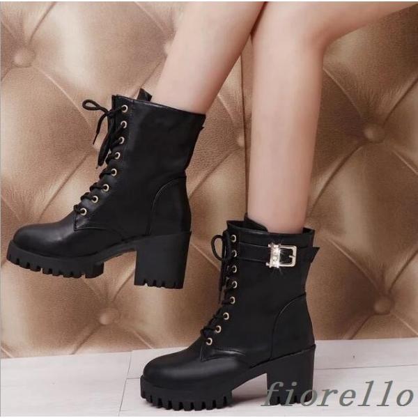 ブーツ ショートブーツ 太ヒールブーツ 厚底靴 プラットフォームソール靴 レディース ブーツ 美脚