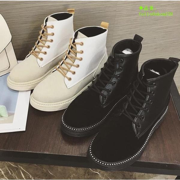 ブーツ レディース マーティンブーツ 歩きやすい ショートブーツ 秋冬新作 ハイカット 美脚 編み上げブーツ 厚底