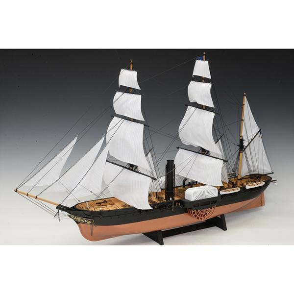 【17日最大29.5%還元】 (取寄品) ウッディジョー WoodyJoe  ウッディジョー 1/120黒船 サスケハナ 展帆タイプ 模型 組み立て 木製 船