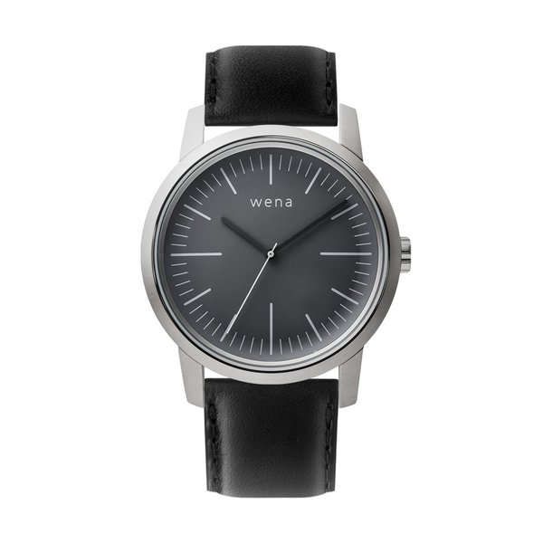 Three Hands Silver + wena wrist leather 22mm Black|firstflight