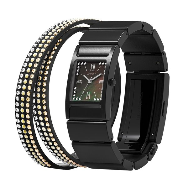 wena wrist Three Hands Square Premium Black -Crystal Edition-|firstflight
