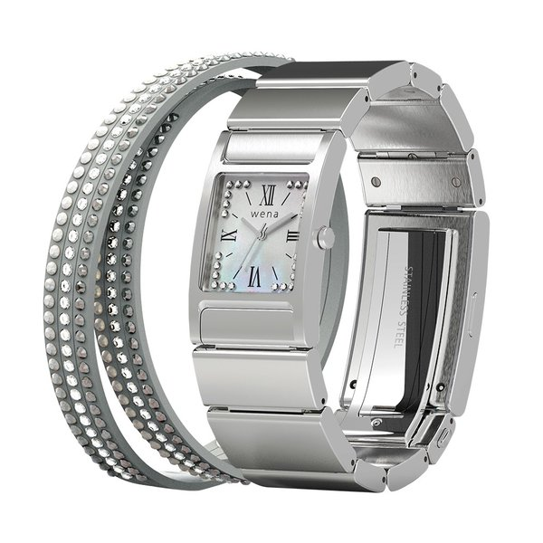 wena wrist Three Hands Square Silver -Crystal Edition-|firstflight