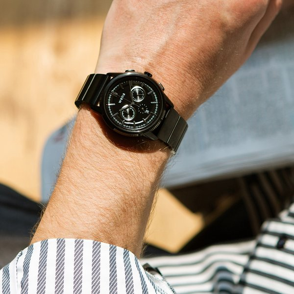 wena wrist Chronograph Classic Premium Black head|firstflight|02