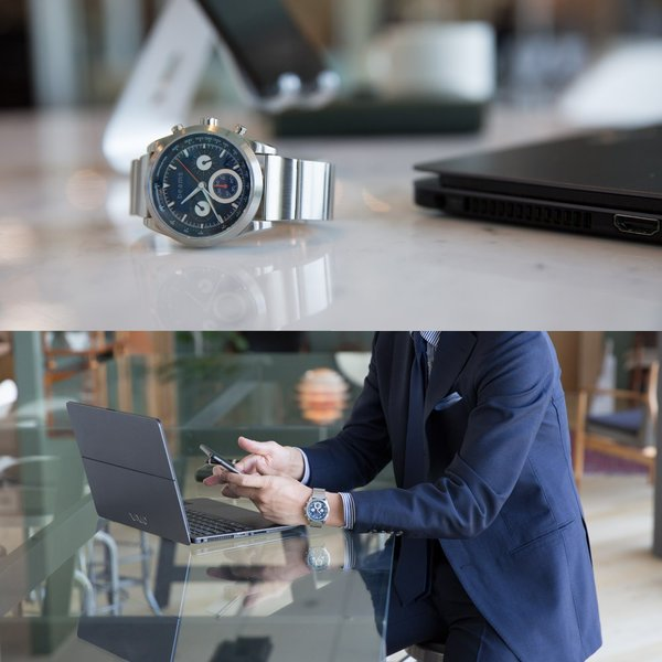 wena wrist Chronograph Solar Silver -beams edition-|firstflight|08