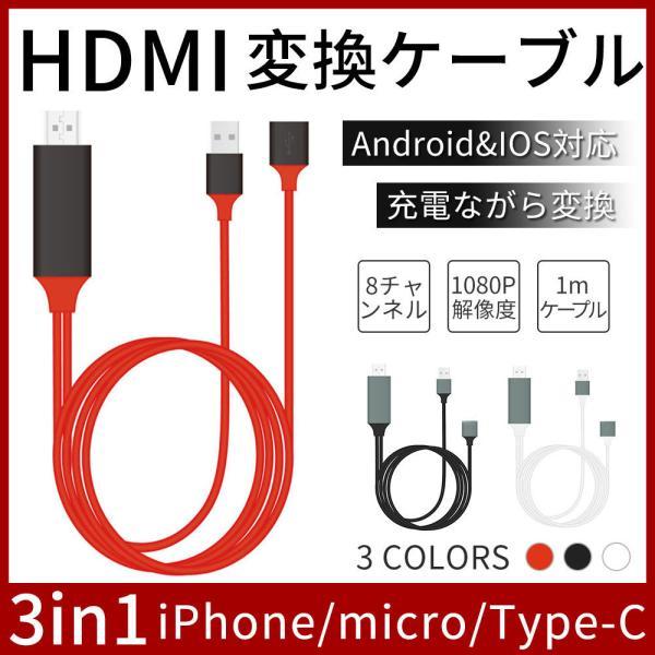 HDMI変換アダプタiPhoneAndroidテレビ接続ケーブルスマホ高解像度LightningHDMIライトニングケーブルHD