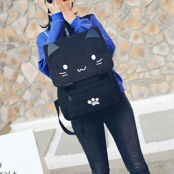 リュック 可愛いネコちゃん メンズ レディース 人気 高校生 通学 バックバッグ トレンド大容量リュックサック おしゃれ スクエア 2色選択可能|fit-001|03