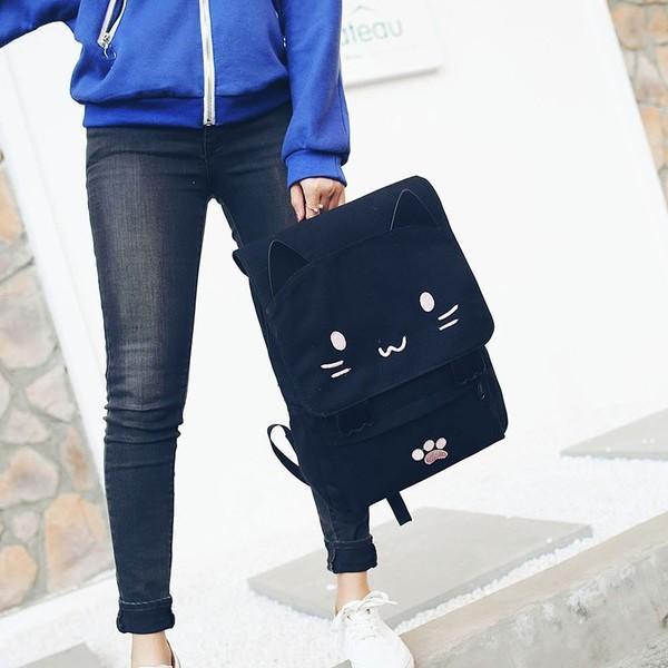 リュック 可愛いネコちゃん メンズ レディース 人気 高校生 通学 バックバッグ トレンド大容量リュックサック おしゃれ スクエア 2色選択可能|fit-001|04