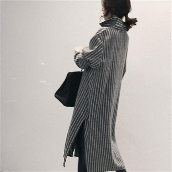 ワンピース レディース 春 シャツワンピース シャツ 長袖 ロング丈 体型カバー  ストライプ 着痩せ|fit-001|03
