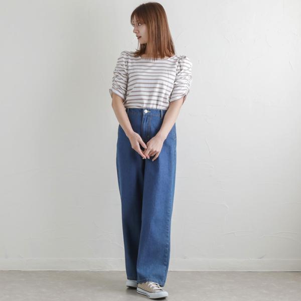 パンツ デニムワイドパンツ レディース ファッション 春夏 ワイドパンツ デニム 美脚 脚長 ブルー ネイビー 大きいサイズ|fitpromotion|11