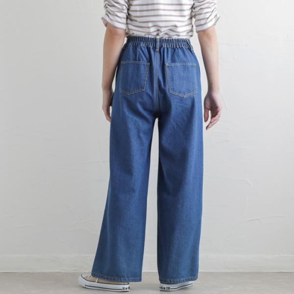 パンツ デニムワイドパンツ レディース ファッション 春夏 ワイドパンツ デニム 美脚 脚長 ブルー ネイビー 大きいサイズ|fitpromotion|13