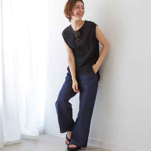 パンツ デニムワイドパンツ レディース ファッション 春夏 ワイドパンツ デニム 美脚 脚長 ブルー ネイビー 大きいサイズ|fitpromotion|15