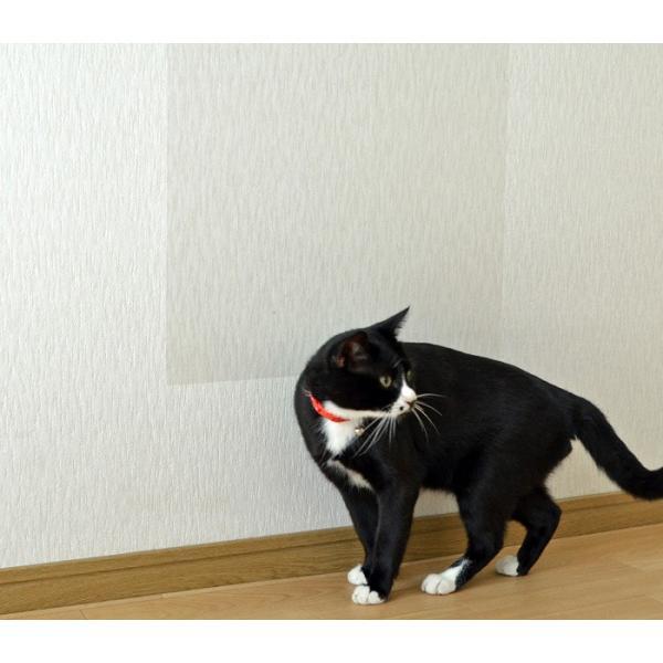 ペット壁保護シート はがせる弱粘着タイプ 半透明 92cm×1m 2枚セット 猫用 ペット 爪とぎ防止 壁 傷 保護|five-1|07
