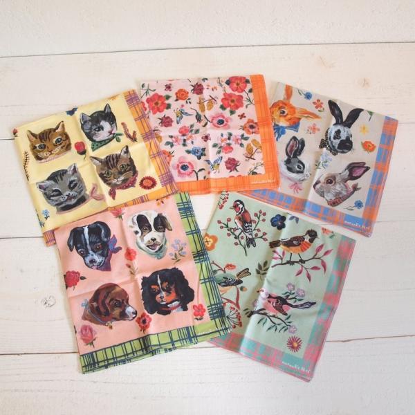 Nathalie Lete Animal Cotton Handkerchief  ナタリー・レテ アニマル コットン ハンカチ【メール便・ゆうパケット対応商品です】