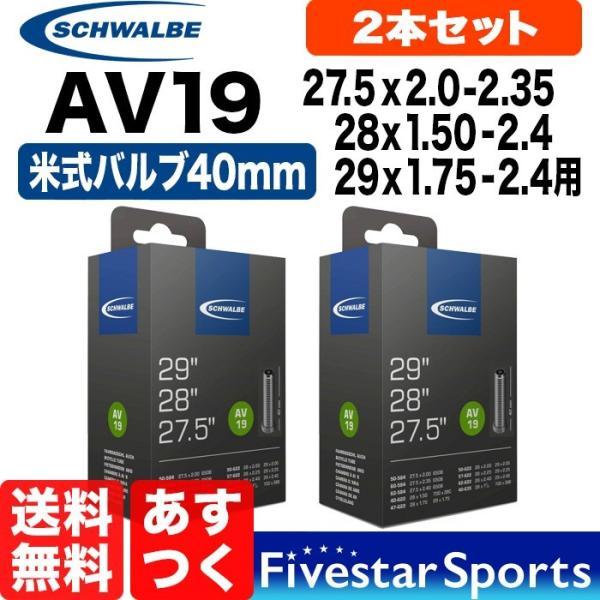 あすつく 送料無料 2本セット AV19 650B、27.5 x2.0-2.35、28 x1.5-2.4、29 x1.75-2.4インチ 米式バルブ長40mm シュワルベ SCHWALBE 19AV 自転車 チューブ