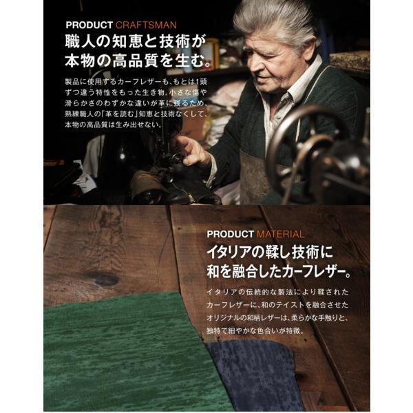 財布 メンズ 二つ折り 日本製 フォリエノ Folieno 本革 U字ファスナー 二つ折り財布 f001w グリーン ネイビー レッド オレンジ グレー 和柄|fizi|09