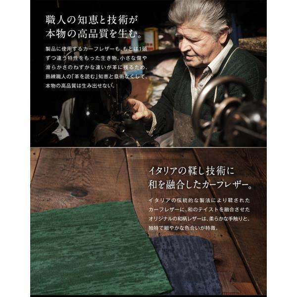 財布 メンズ 二つ折り 日本製 フォリエノ Folieno 本革 U字ファスナー 二つ折り財布 m006 グリーン ネイビー レッド オレンジ グレー 和柄|fizi|10