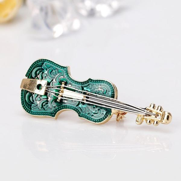 エレガントなグリーンのギターブローチ バイオリン スカーフ留め ピン クリップ 卒業式 入学式 母の日