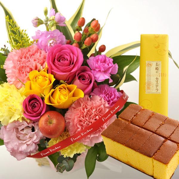 花とスイーツのセット バラアレンジメント と 長崎カステラ蜂蜜 0.5号 10切入 誕生日 記念日 お祝い花 即日発送 あすつく プレゼント お取り寄せ